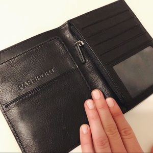 Fossil Black Leather Passport Wallet